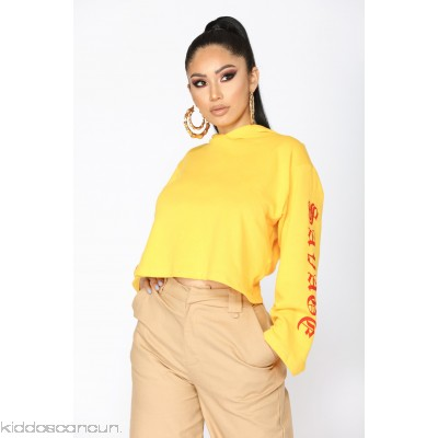 Savage Beauty Long Sleeve Top - Yellow - Womens Fashion Tops VZSbNNdU