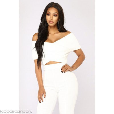 So Empowered Off Shoulder Top - White - Womens Fashion Tops ilrAknTE