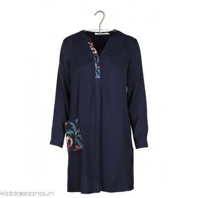 NICE THINGS - Women - Short crepe dress with embroidered pocket kGHCvtWG