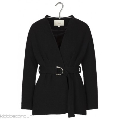 MAJE - Women - Short belted wool and cotton woven coat GRCv05Mm