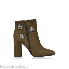 JONAK - Women - Zip-up suede heeled ankle boots with embroidery v1SINcqz