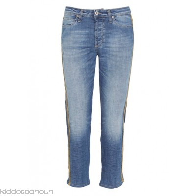 PLEASE - Women - Straight cropped jeans with lurex braiding OXMPjXed