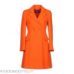 BOUTIQUE MOSCHINO Coat - baize half-belt solid colour lapel collar double-breasted button closing - Womens Coats 41710314IP