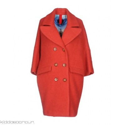 FEMME by MICHELE ROSSI Coat - flannel pleated detailing no appliqués basic solid colour double-breasted button closing - Womens Coats 41736841UW