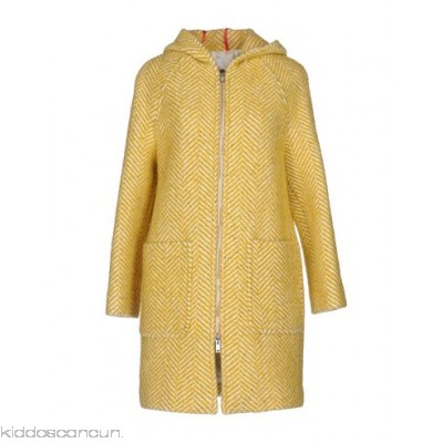 JUCCA Coat - flannel no appliqués herringbone single-breasted zip round collar - Womens Coats 41735452AQ