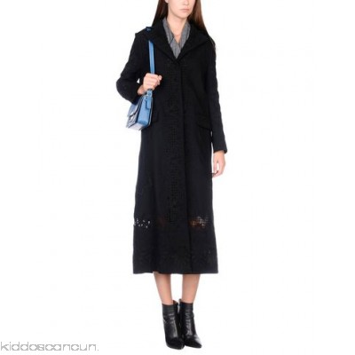 VALENTINO Coat - lace flannel no appliqués solid colour single-breasted button closing - Womens Coats 41757768NK
