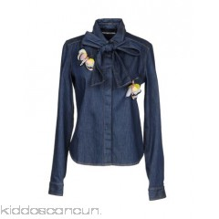 MARCO BOLOGNA Denim shirt - denim brooch solid colour dark wash long sleeves bow collar - Womens Denim Shirts 42661516PB