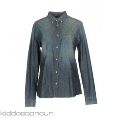 SUN 68 Denim shirt - denim faded effect logo solid colour dark wash long sleeves - Womens Denim Shirts 42624418JQ
