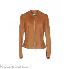 DELAN Biker jacket - leather no appliqués solid colour round collar single-breasted  zip - Womens Biker Jackets 41700267TM