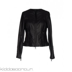 EMANUELE CURCI Biker jacket - leather no appliqués basic solid colour round collar single-breasted  zip - Womens Biker Jackets 41701725VP