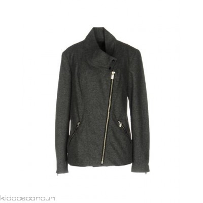 MAISON SCOTCH Biker jacket - flannel logo solid colour round collar single-breasted snap-buttons - Womens Biker Jackets 41701331JR
