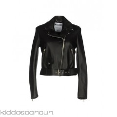 MOSCHINO COUTURE Biker jacket - leather logo buckle basic solid colour lapel collar single-breasted  - Womens Biker Jackets 41711195SD