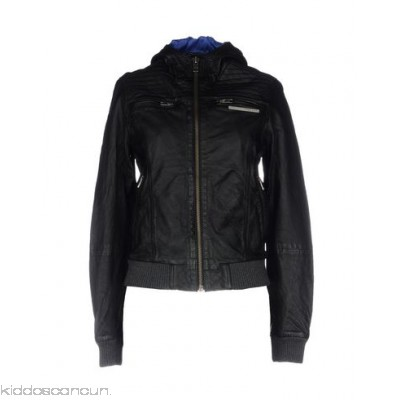 SUPERDRY Biker jacket - leather logo solid colour single-breasted zip turtleneck - Womens Biker Jackets 41779867NM