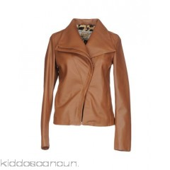 VINTAGE DE LUXE Biker jacket - leather no appliqués solid colour single-breasted  zip lapel collar - Womens Biker Jackets 41726399JL
