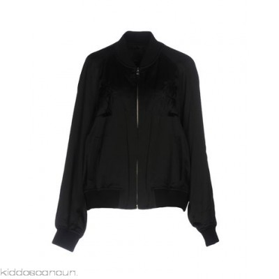 ALEXANDER WANG Bomber - satin embroidered detailing solid colour single-breasted zip round collar - Womens Bombers 41742263GR