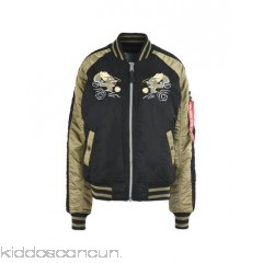 ALPHA INDUSTRIES INC. Bomber - techno fabric embroidered detailing two-tone single-breasted  zip round collar - Womens Bombers 41765052IT