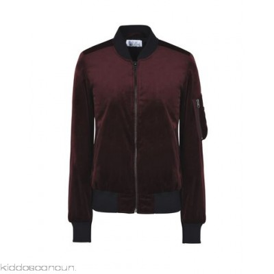 GEORGE J. LOVE Bomber - velvet no appliqués basic solid colour single-breasted zip round collar - Womens Bombers 41762985SO