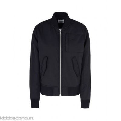 WOOD WOOD Bomber - techno fabric logo basic solid colour single-breasted zip round collar - Womens Bombers 41754818OP