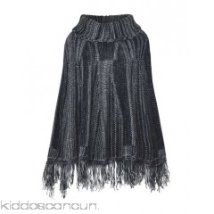 GEORGE J. LOVE Cloak - knitted fringe two-tone single-breasted  turtleneck sleeveless - Womens Cloaks 41767139GB