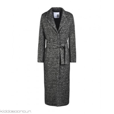 8 Belted coats - tweed belt two-tone pattern single-breasted button closing lapel collar - Womens Belted Coats 41760089KP