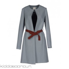 ALYSI Belted coats - plain weave belt solid colour single-breasted  button closing lapel collar - Womens Belted Coats 41773781HV