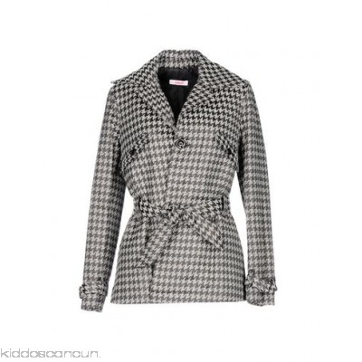 BLUGIRL FOLIES Belted coats - tweed logo belt houndstooth single-breasted 1 button - Womens Belted Coats 41762271NG