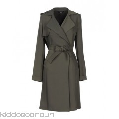 LIU •JO Belted coats - crêpe belt logo solid colour lapel collar single-breasted  - Womens Belted Coats 41719244NA