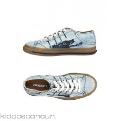 DIESEL Sneakers - denim metal applications logo solid colour laces round toeline - Womens Sneakers 11424557JC