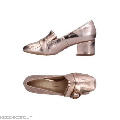 LOLA CRUZ Loafers - laminated effect buckle solid colour square toeline square heel covered heel - Womens Loafers 11347174TV